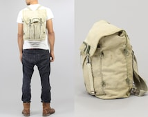"Military / Army Fatigue ""Moss"" Distressed Cotton Canvas Backpack Unstructured Adjustable Strap Rucksack 70's vintage"