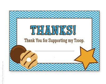 Cookie Fundraiser Blue Chevron Thank You Notecards: Downloadable