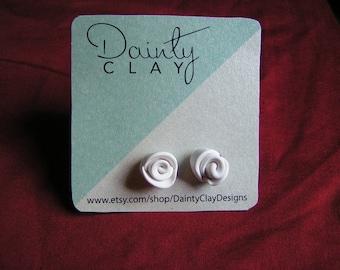 white clay earrings