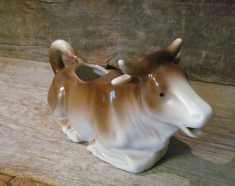 Antique Hand-Painted Porcelain Bavarian Brown and White Cow Creamer Germany