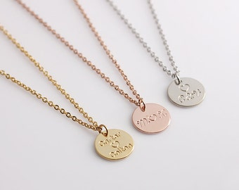 Disc Initial Necklace, Dainty Disc Necklace, Name Initial Necklace, Monogram Disc Charm, Bridesmaid Gift, Birthday Gift,