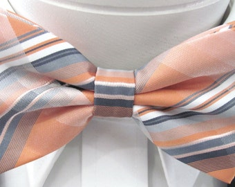 Peach And Melon With Gray Stripes Design PreTied Bow Tie