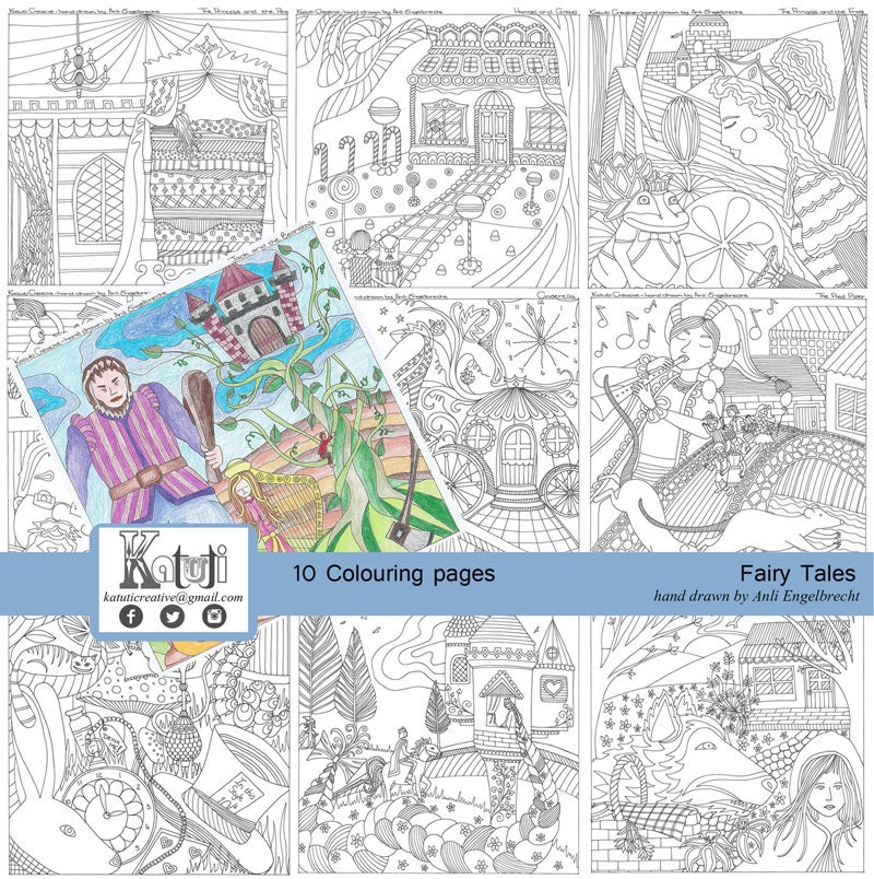 coloring pages for adults fairy tale theme instant download. Black Bedroom Furniture Sets. Home Design Ideas