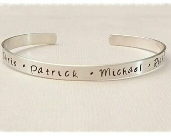 Cuff Bracelet ~ Sterling Silver ~ Hand Stamped ~ Personalized with your Custom Saying, Names, Dates