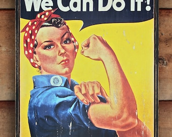 NEW!!** Vintage wooden sign 'We Can Do It!' WW2 propaganda sign. (Reproduction)