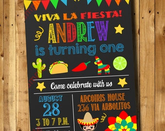 Fiesta Birthday Invitation 1st, 2nd, 3rd Any Age Birthday - Mexican Invitation Digital File