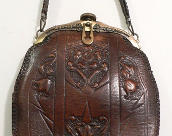 1910 - 1920 Jemco Arts and Craft Art Deco Tooled Leather Purse