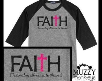 Faith inspirational glitter Baseball Tee