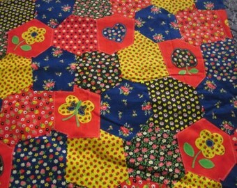 Vintage Butterfly Calico Patchwork Quilt Fabric 1 + Yards Unused