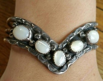 Vintage Mother of pearl sterling silver Native American cuff bracelet