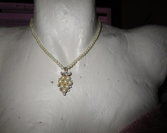"""vintage faux pearl necklace tiny beads goldtone clasp 15""""long with pendant with pearls/diamante"""