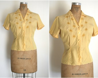 1950s | Yellow Silk Embroidered Blouse by Judy Bond | Size M