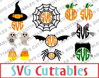 Halloween Monogram Frames, SVG, EPS, DXF, Vector, Digital Cut File