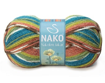 Wool & Acrylic High Quality Turkish Yarn Nako Nakolen Jakar- Pack of 5 balls. Winter Yarn for Scarf, pullover and more. Free Shipping