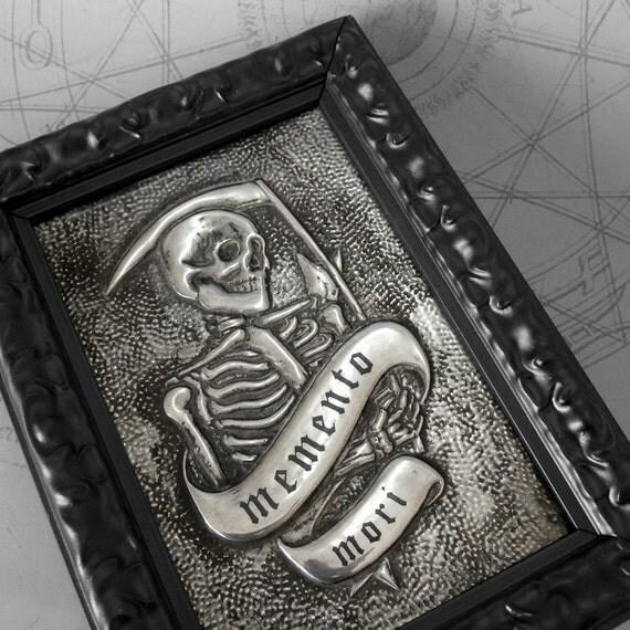 Memento Mori Reaper : hand embossed anatomical repoussé metal wall art