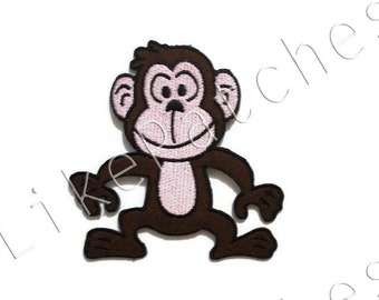 Dark Brown Monkey Patch - Cute Monkey New Sew / Iron On Patch Embroidered Applique Size 7.6cm.x7.8cm.