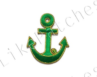 Green Anchor - Cute Patch - New Sew / Iron On Patch Embroidered Applique Size 5.5cm.x6.5cm.