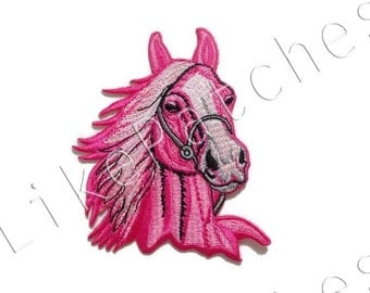 Bigger Than Normal Size - Pink Horse Beautiful Animal New Sew / Iron On Patch Embroidered Applique Size 8.8cm.x10.1cm.