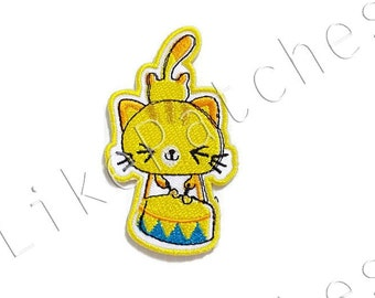 Yellow Cat - Cute Patch - Hit Drum - Animal Patch New Sew on / Iron on Patch Embroidered Applique Size 4.8cm.x8.2cm.