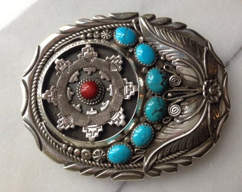Silver Buckle With Coral And Turquoise