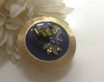 Vintage Enamel Pill Box Rhinestones Blue Heart Gold Liner Ring Trinket Collectible Engagement Wedding Valentine Romantic Medicine Bride
