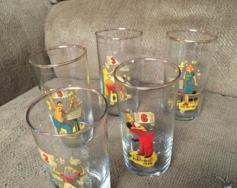 Set of 5 PRP Co. 1942 Bowling Glasses Vintage Bowler Character Glass