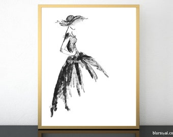 Printable fashion illustration, black and white art, high fashion sketch, printable dorm decor, women gift, gift for her - fsh021 01
