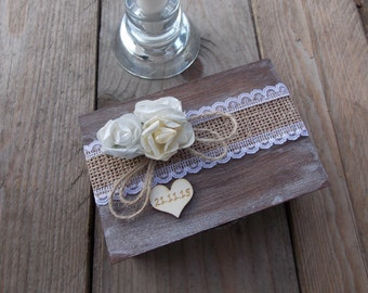 "Ring Bearer Box ""Three Roses"" / Wedding / Ring Box / Wedding Box / Vintage / Ring Holder / Rustic / Wood"