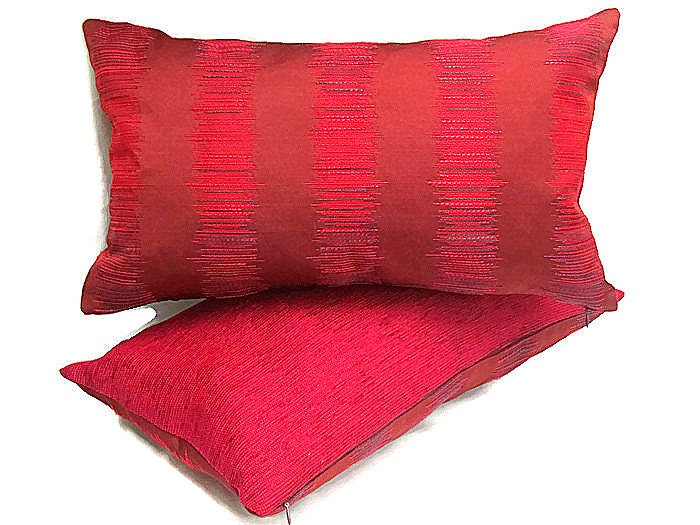 Burgundy Lumbar Pillow 12x20 Pillow Cover Embroidery By