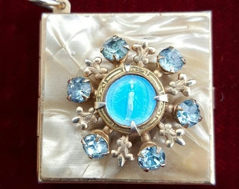 Lovely, 50's 60's, gold tone, religious, Catholic locket charm with mop, light blue rhinestones, and the Blessed Mother!