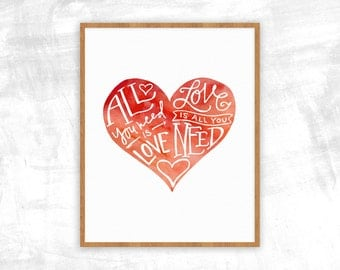 All You Need is Love Print   Beatles Lyrics Poster   Gifts for Wife, Husband, Spouse, Family