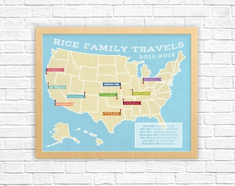 Personalized Family Travel Map | Custom Places We've Been Map | Gifts for Men, Husband, Wife, Mom, Dad, Family