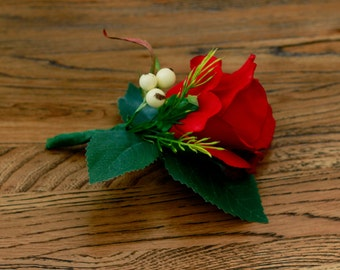 Classic Large Red Rose Boutonniere