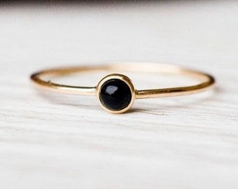 14k gold black onyx ring, February birthstone, Natural Gemstone, Anniversary Gift for Her, Birthday Gift, Simple and Minimalistic Jewelry
