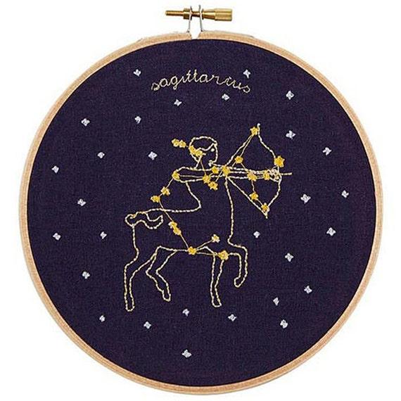 Sagittarius (November 22 - December 21) zodiac embroidery