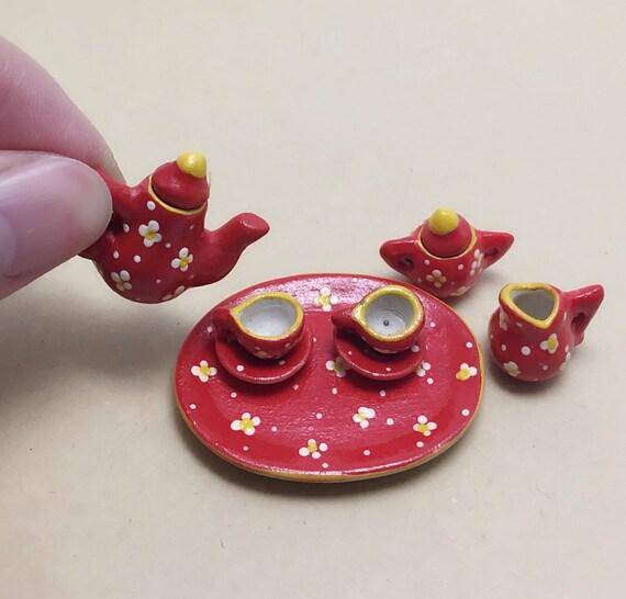 Miniature Tea Set,Miniature Red English Tea Set,Miniature Coffee Set,Miniature Handmade,Dolls House,Clay Tea Set,Hand Painted,Gift
