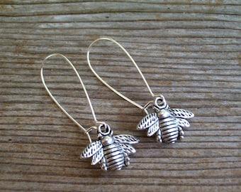 Silver Bee Earrings, Bee Kidney Wires, Antiqued Silver Bee Earrings, Bee Jewelry, Pierced Dangle Earrings