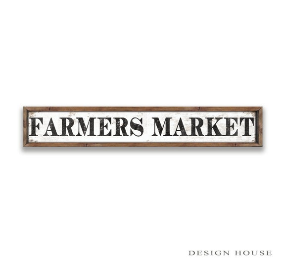 Farmers market wooden sign 36x7x2 kitchen by designhousedecor for Decor market reviews