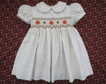 Autumn Thanksgiving Hand Smocked Pumpkin and Acorn Ivory Dress. Orange Red and Green. Made to Order.