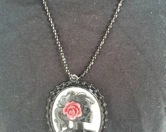 Punk rock sugar skull flower necklace