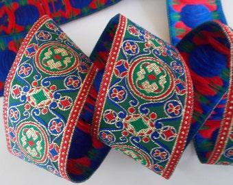 "Jacquard Ribbon Trim| Circles and Swirls metallic ribbon trim~Renaissance Fair~Blue~Green~Red 7/8"""