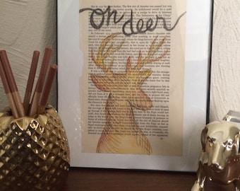 Handmade Oh Deer Book Page Art