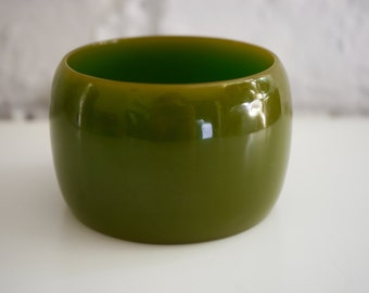Very Wide Olive Green Bakelite Bangle Cuff