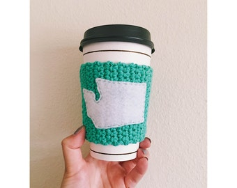 Washington State Knitted Coffee Cozy // Eco-Friendly // Coffee Sleeve