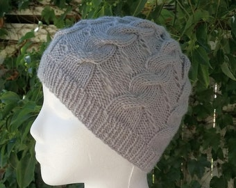 Knitted hat for women, Knit grey hat, knit beanie, knit cable hat