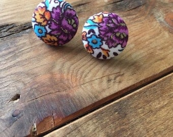 Floral fabric button earrings