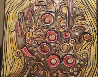 Brutalist mixed media art, C. Karrington, 1971