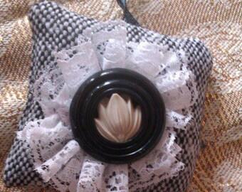 Vintage Black & White Key Fob/Bag Charm
