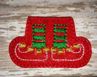 Set of 4 Christmas Santa Elf Feet Red and  Green Hairbow Feltie Felt Embellishment Bow! Planner Clip Birthday Party Elf Shoes Legs Only