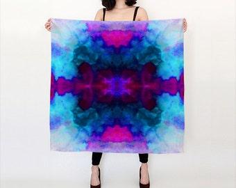 Kaleidoscope, Blue Aqua and Pink, Watercolor Silk Scarf, Original Abstract Watercolor